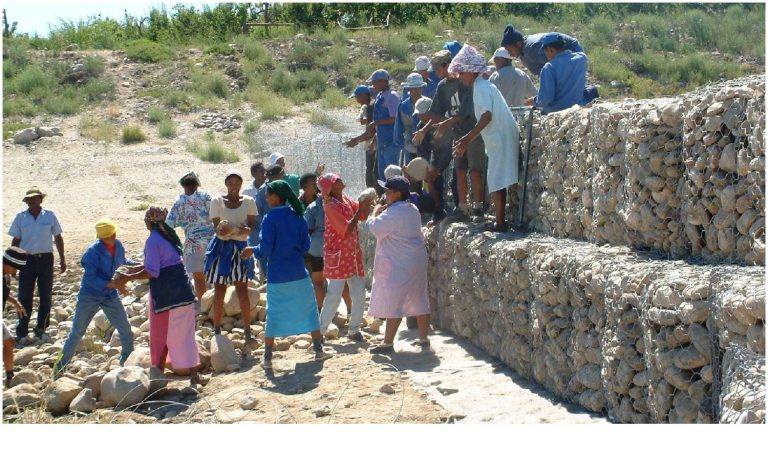 Stone packing by Calitzdorp community members 2001